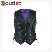 Load image into Gallery viewer, New Style Motorcycle Biker Ladies Women Leather Vest Waistcoat