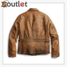Load image into Gallery viewer, Newboy Vintage Style Distressed Tan Leather Jacket Mens