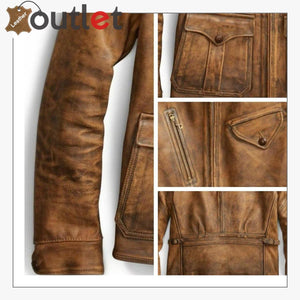 Newboy Vintage Style Distressed Tan Leather Jacket Mens
