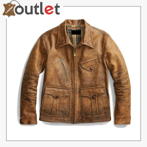 Newboy Vintage Style Distressed Tan Leather Jacket Mens - Leather Outlet