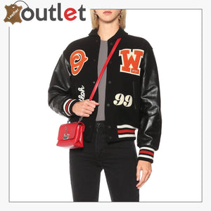 Off White Barrel Womens Leather Varsity Jacket - Leather Outlet