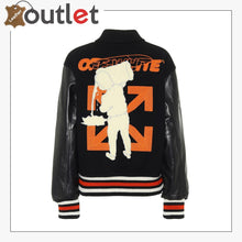 Load image into Gallery viewer, Off White Barrel Womens Leather Varsity Jacket - Leather Outlet