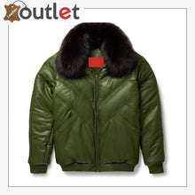 Load image into Gallery viewer, Olive Leather V Bomber Mens Jacket