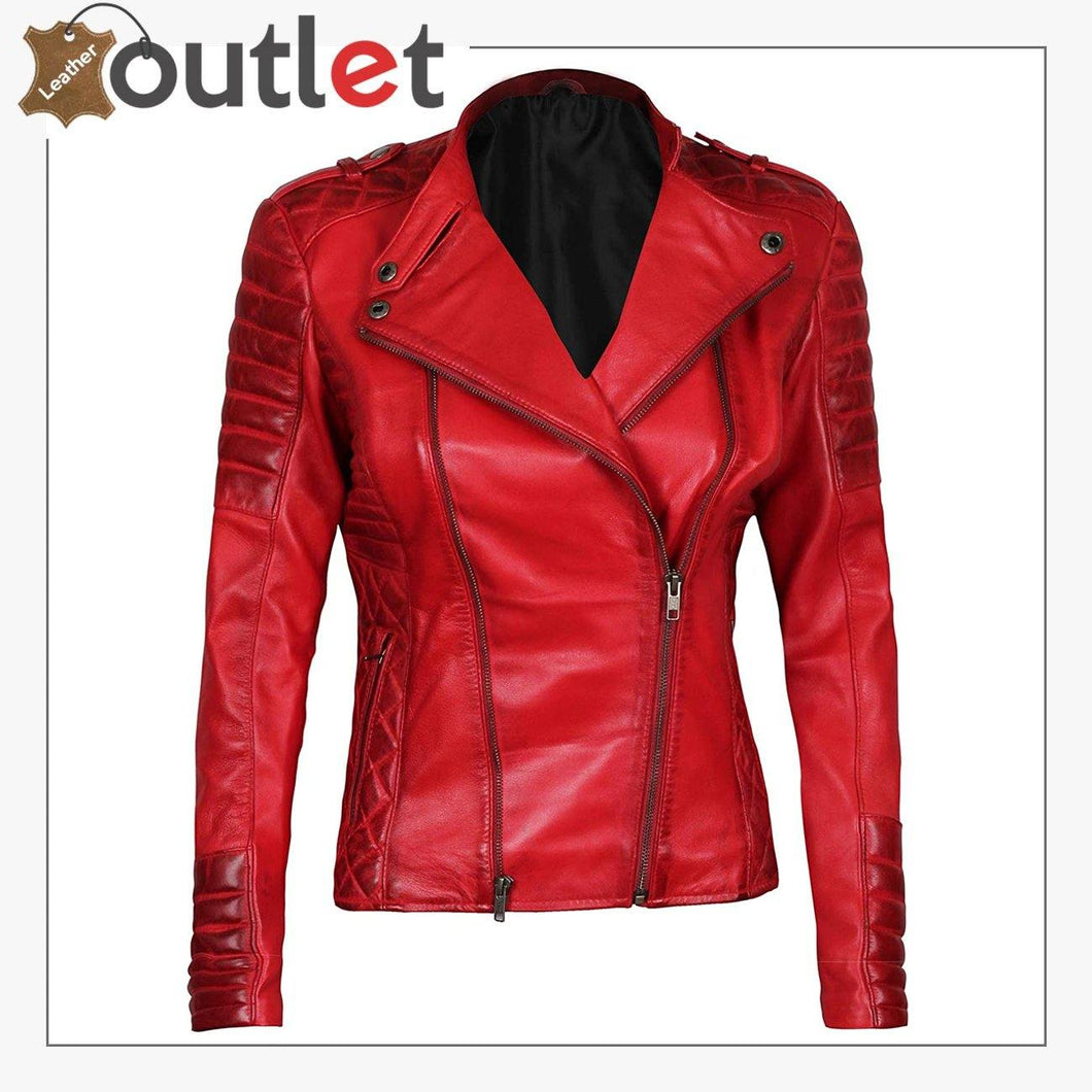 Premium Lambskin Leather Bomber Jacket For Women