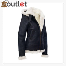 Load image into Gallery viewer, RAF Aviator Pilot Womens Hooded Sheepskin Jacket B3 Flying Leather Jacket