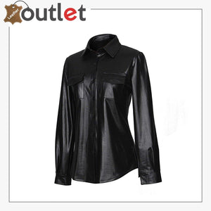 Real Black Leather Shirts For Women
