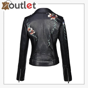 Real Black Leather studded jacket For Women