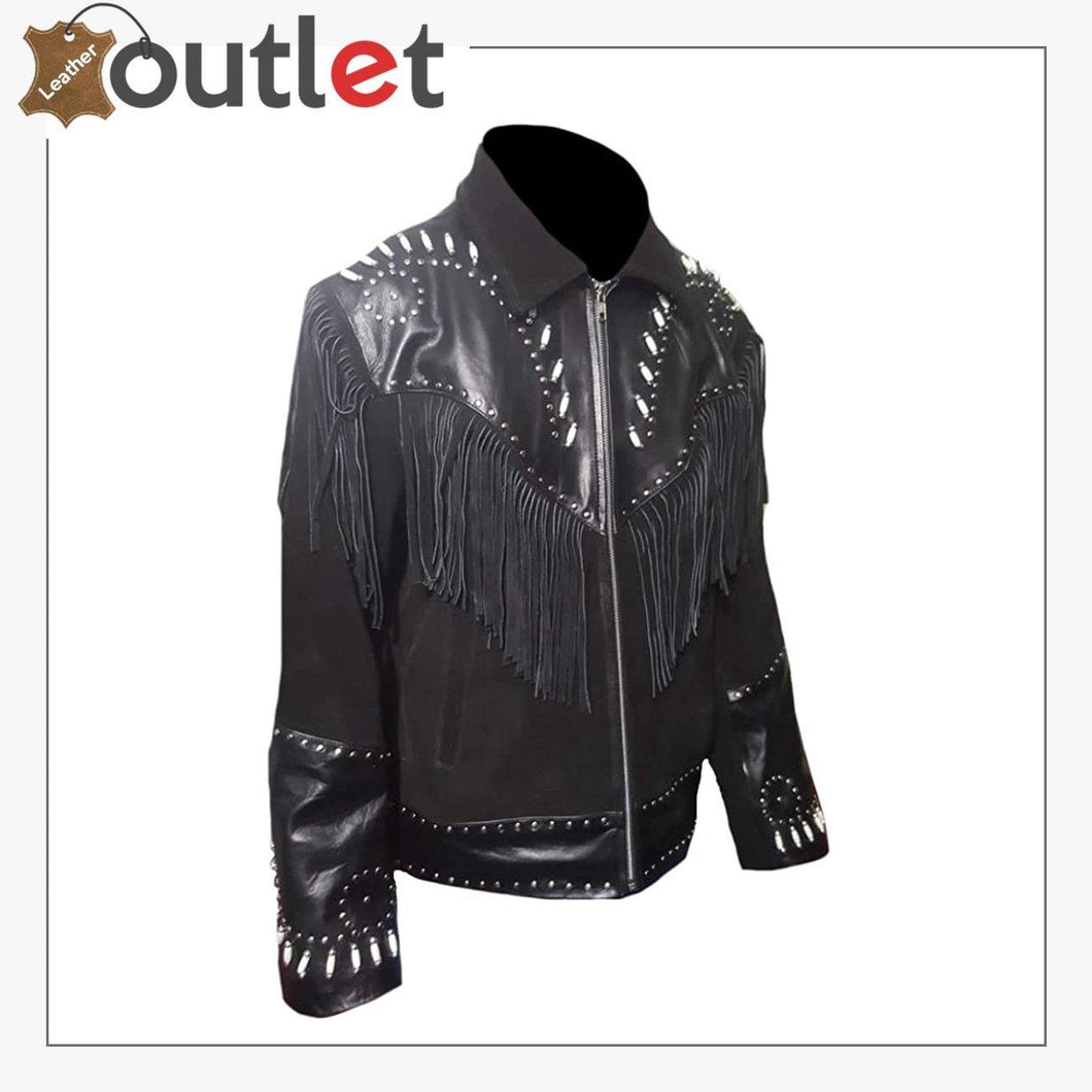 Real Black Western Leather Jacket For Men