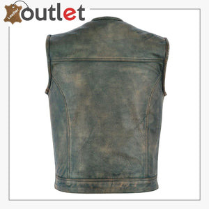 Real Motorbiker Leather Vest For Men