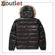Load image into Gallery viewer, Real Quality Black Mens V Bomber Leather Jacket