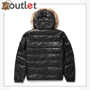 Real Quality Black Mens V Bomber Leather Jacket