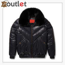 Load image into Gallery viewer, Real Quality V-Bomber Nylon Black Black Fox Fur