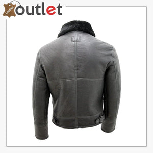 Real Shearling Sheepskin Fur Flying B3 Leather Bomber Jacket