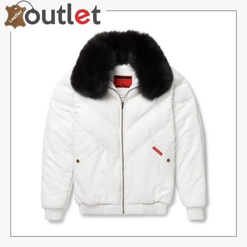 Real White V-Bomber Leather Jacket For Men