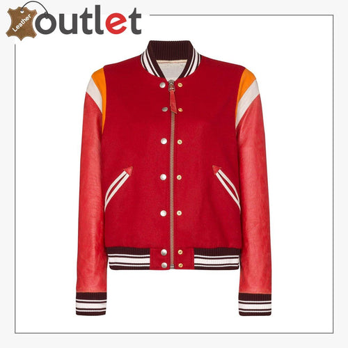 Red Color Scarlett Leather Varsity Bomber Jacket