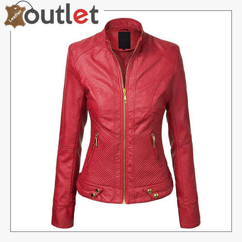Red High Light Leather Fashion Jacket