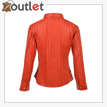 Load image into Gallery viewer, Red High Quality Womens Leather Shirt