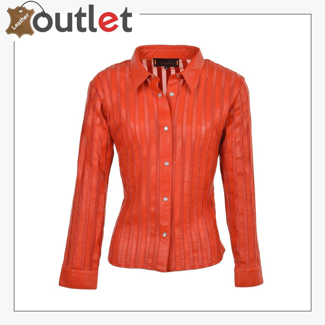 Red High Quality Womens Leather Shirt