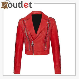 Red Perfecto Crystal Work Biker Jacket