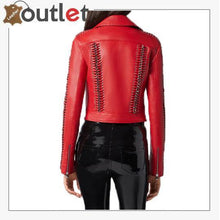 Load image into Gallery viewer, Red Perfecto Crystal Work Biker Jacket