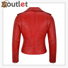Load image into Gallery viewer, Red Studded Rock Chic Biker Motorcycle Style Leather Jacket