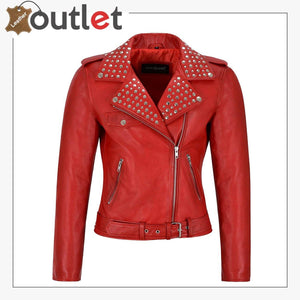 Red Studded Rock Chic Biker Motorcycle Style Leather Jacket