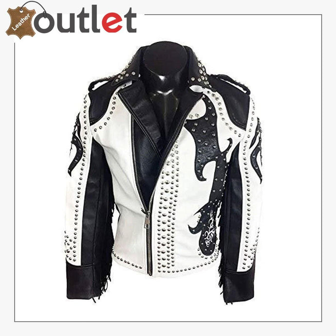 Rock Punk Gothic Studded Motorcycle Fringe Biker Leather Jacket