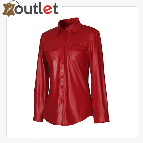 Shiny Metallic PU Faux Leather Shirt For Women