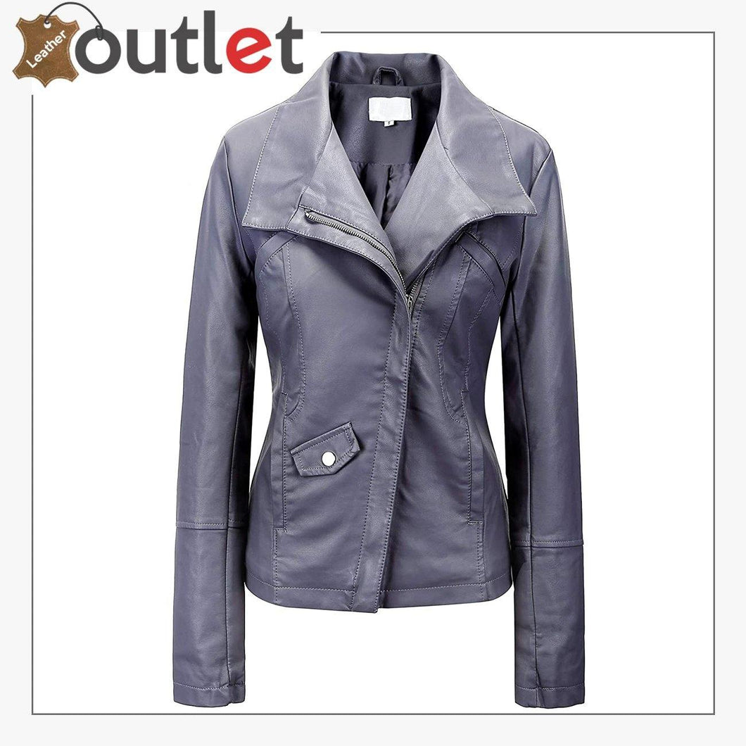 Signature Bow Hoodie Leather Bomber Jacket For Women