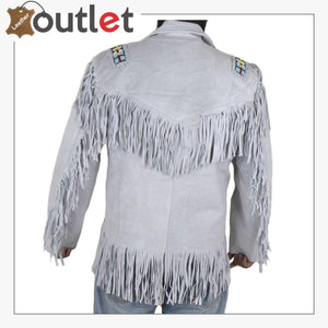 Skin White Cowboy Genuine Real Leather Jacket - Leather Outlet