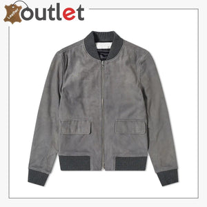 Smooth and Sleek Suede Leather Bomber Jacket