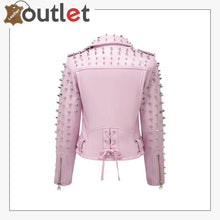 Load image into Gallery viewer, Soft Pink Studded Leather Biker Jacket