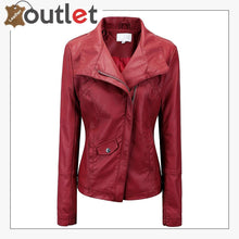 Load image into Gallery viewer, Style Plain School Leather Bomber Jacket For Women