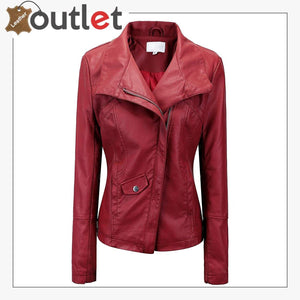 Style Plain School Leather Bomber Jacket For Women