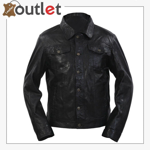 Style Slim Fit Casual Black Leather Shirt