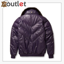 Load image into Gallery viewer, Stylish Look Purple Leather V Bomber Jacket