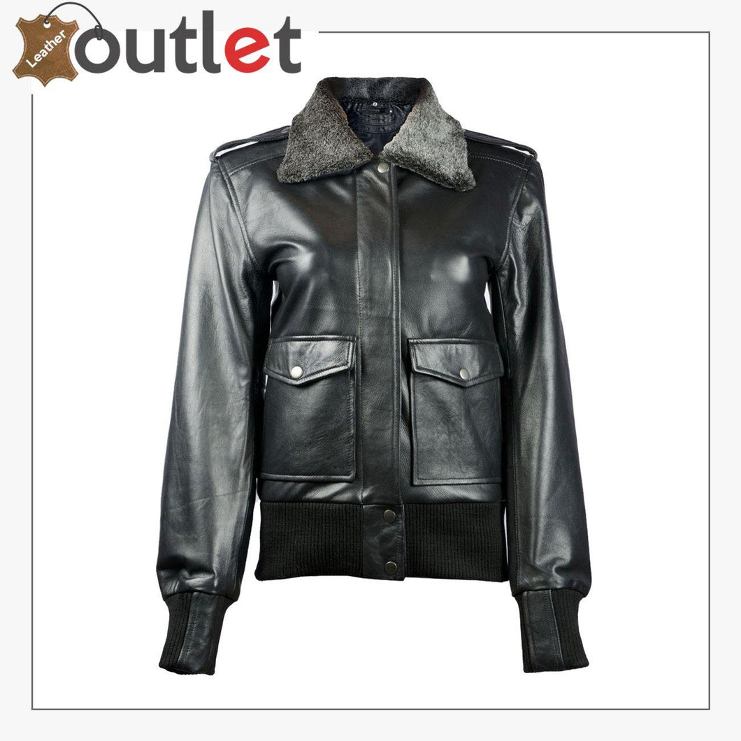 Sundance Shearling Black Bomber Womens Leather Jacket