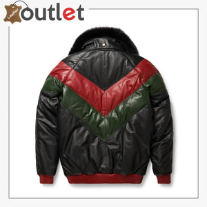 Three-Tone Red, Green And Black V-Bomber Leather Jacket
