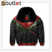 Load image into Gallery viewer, Three-Tone Red, Green And Black V-Bomber Leather Jacket