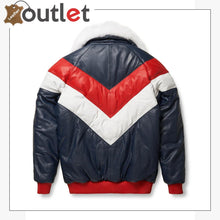Load image into Gallery viewer, Two-Tone Red and White V Bomber Leather Jacket - Leather Outlet