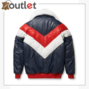 Two-Tone Red and White V Bomber Leather Jacket - Leather Outlet