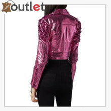 Load image into Gallery viewer, Pink Metallic Studded Biker Jacket
