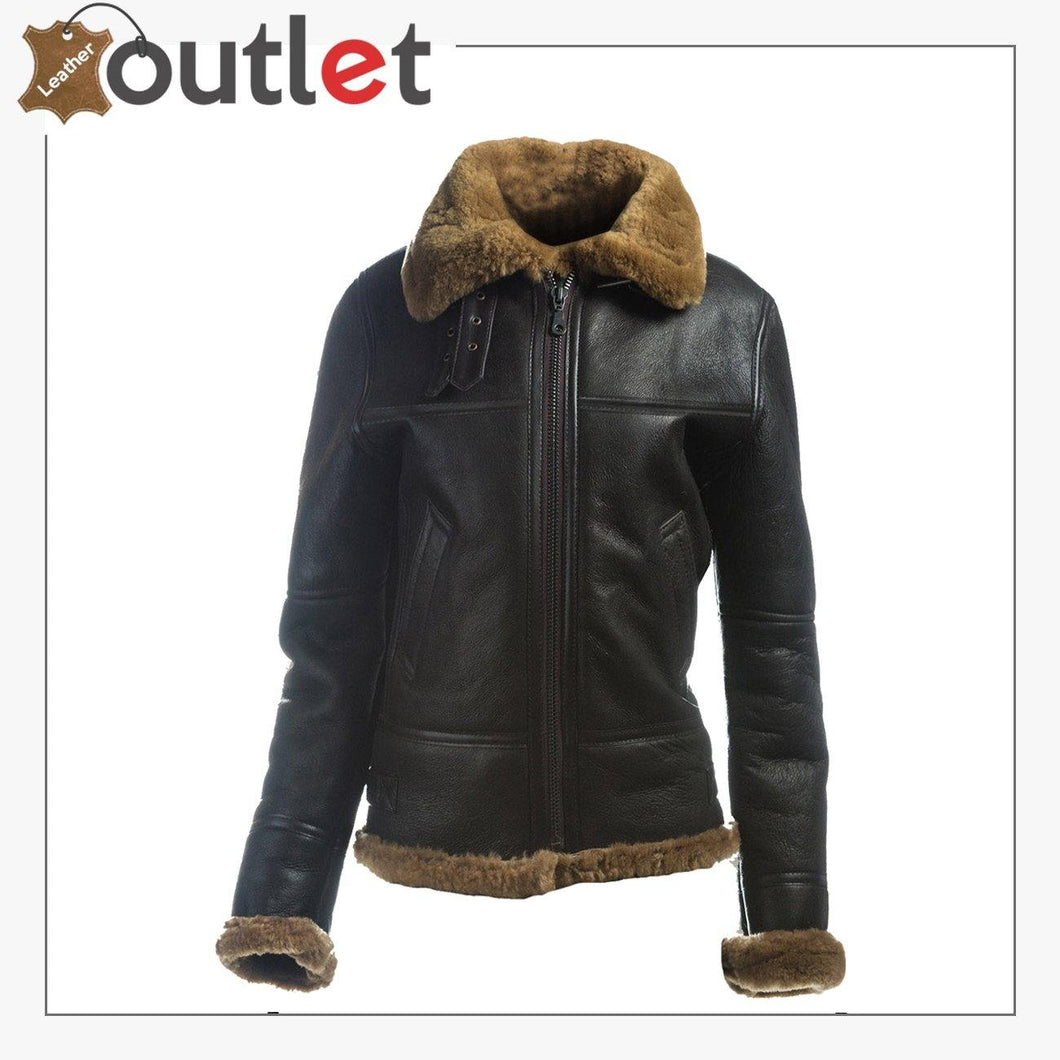 Women B3 Bomber Shearling Leather Jacket