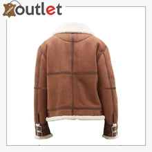 Load image into Gallery viewer, Women Casual Brown Shearling Leather Jacket