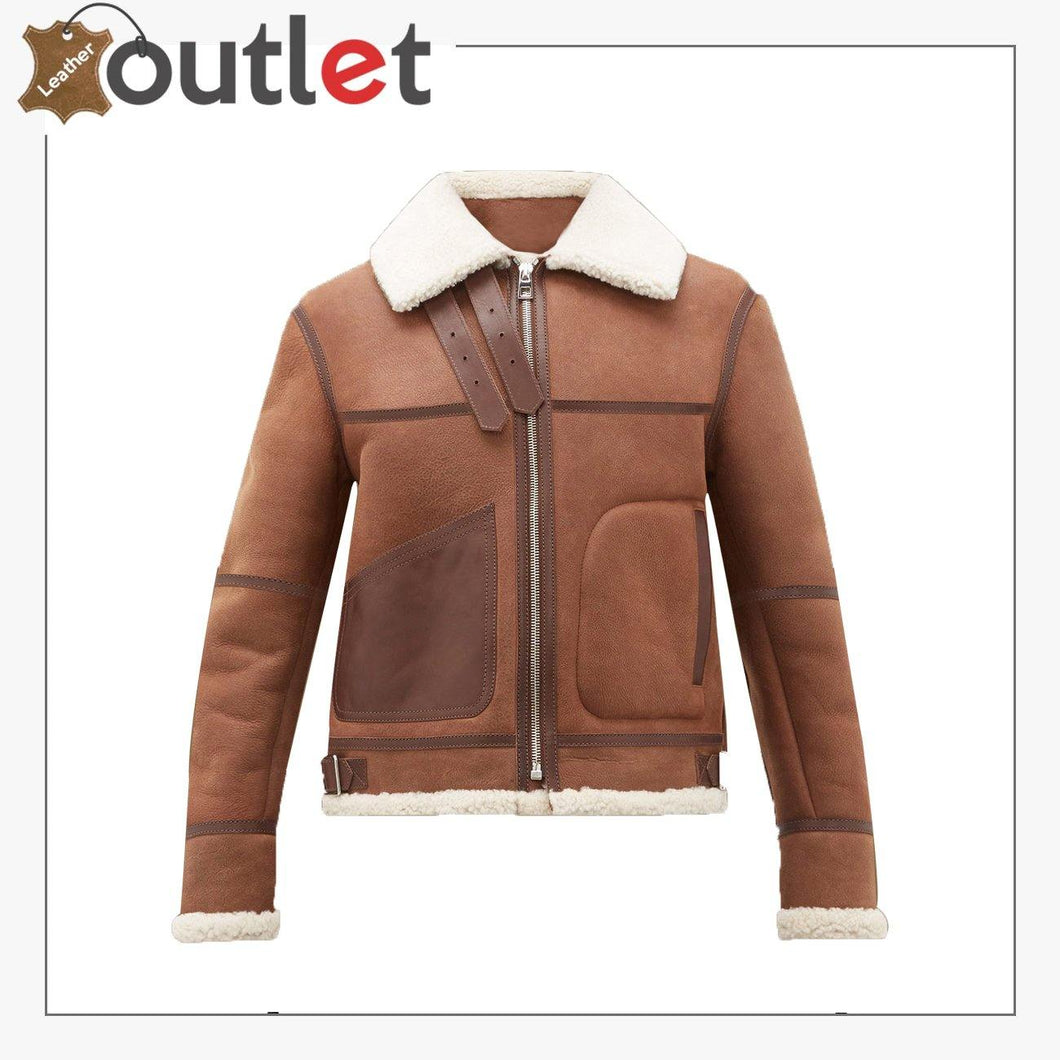 Women Casual Brown Shearling Leather Jacket