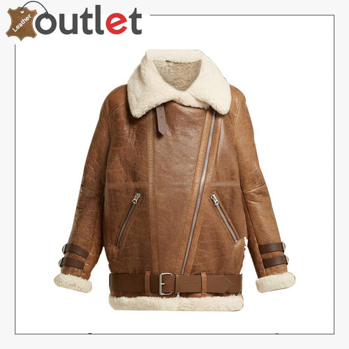 Women Light Brown Shearling Leather Jacket