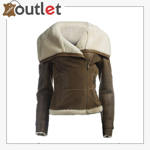 Women Oversize Fur Collar Leather Jacket