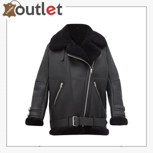 Women Pitch Black B3 Shearling Leather Jacket