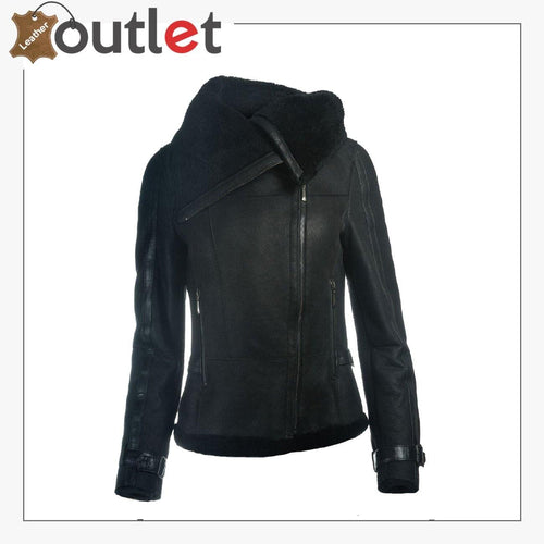 Women Sheepskin Oversized Collar Jacket