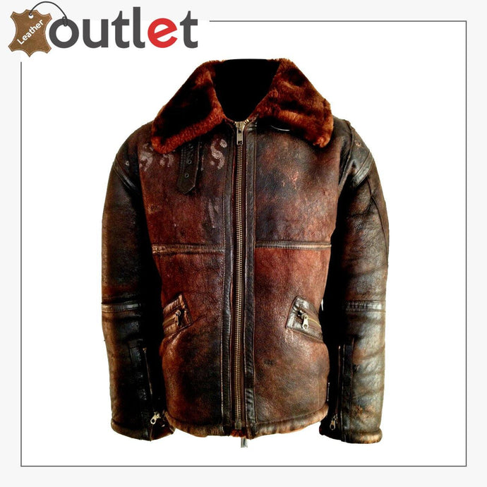 WW2 B3 Sheepskin Shearling Flying Pilot Leather Bomber Jacket - Leather Outlet